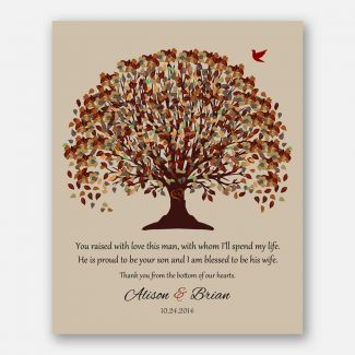 Mother of Groom Fall Tree Canopy on Beige Background Carved Initials #CWA-1010