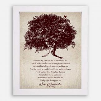 Mother of Groom Large Brown Oak Tree on Vintage Background I Knew The Day I Met Him #CWA-1017