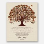 Mother of Groom Father Parents Fall Canopy Leaves on Beige Faux Linen Background #CWA-1018