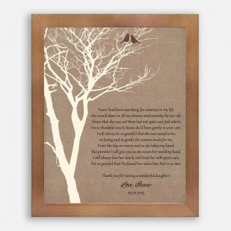 Mother of Bride Parents Faux Burlap Background With Cream Bare Tree And Brown Love Birds Years I Had Been Searching #CWA-1019