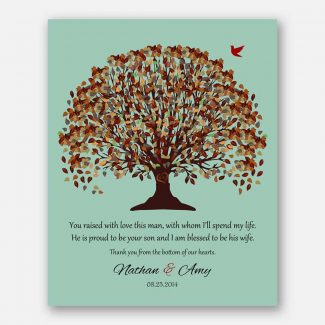 Mother of Groom Fall Canopy Leaves on Seafoam Background You Raised With Love This Man #CWA-1021