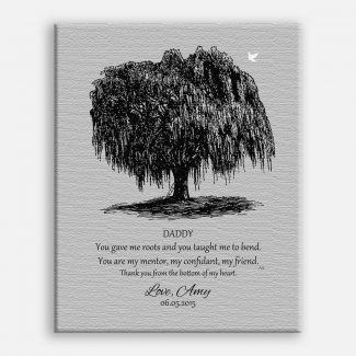 Dad Black Willow Tree on Gray