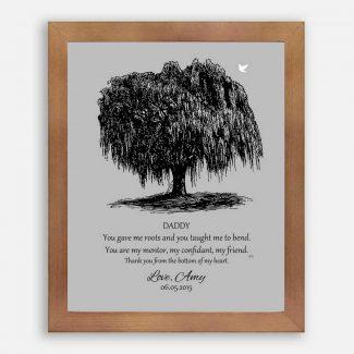 Dad Black Willow Tree on Gray