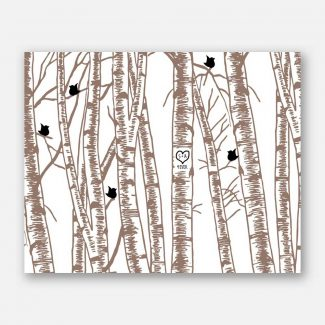 10 Year Anniversary Gift 10th Anniversary Birch Trees Taupe And Black Birds #CWA-1037