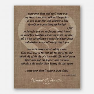 Couple Tenth Anniversary I Carry Your Heart In Heart Faux Burlap Background #CWA-1040
