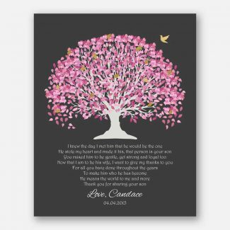 Mother of Groom Father Parents I Knew The Day Pink Canopy Leaves on Dark Gray #CWA-1044