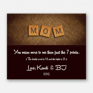 Mom (or Mum) Scrabble Tile Letters