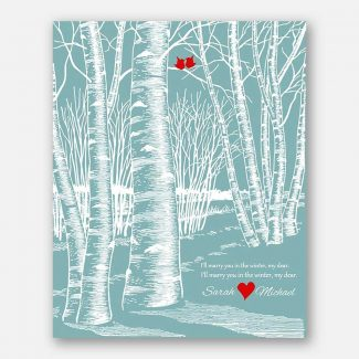 10th Wedding Anniversary I'll Marry You in The Winter Birch Trees Love Birds Turquoise Background #CWA-1049