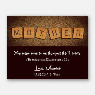 Mother Scrabble Tile Letters Custom Art