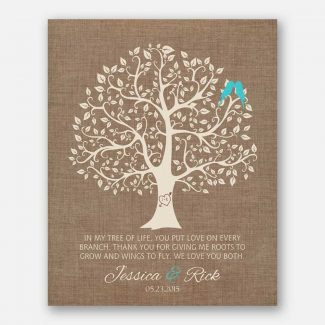 Mother Faux Burlap Turquoise Birds In