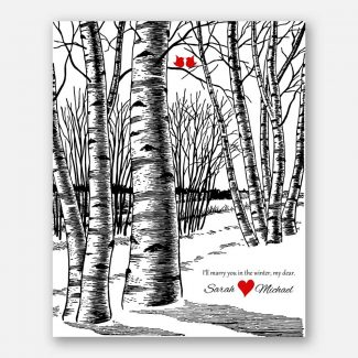 10th Anniversary Bare Birch Trees Marry You In The Winter Wedding Black White Red Tin Year #CWA-1071