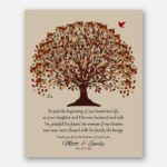 Father Mother of Bride Blessed With The Family She Brings Gift From Groom Fall Canopy Leaves on Beige Background #CWA-1077