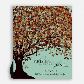 10th Anniversary Fell In Love And Married In The Fall Canopy on Seafoam Background #CWA-1086