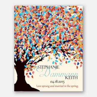 10th Anniversary Love Sprung And Married In The Spring Tree Canopy Turquoise Coral Spring Colors 2015 Cream Background #CWA-1089