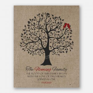 10th Anniversary Roots of This Family Love of Two Hearts Family Name Red Birds Faux Texture Background #CWA-1091