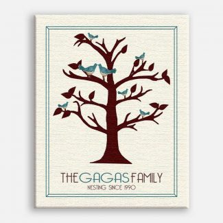Anniversary Family Tree Nesting Since… Teal