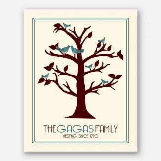 Anniversary Family Tree Nesting Since… Teal Birds on Brown Tree 10th Wedding Anniversary #CWA-1108
