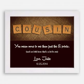 Cousin Letter Tile Art Gift Thank