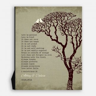 10th Wedding Anniversary Gift For Couple 1 Corinthians 13 Love Is Patient Faux Texture Background White Love Birds Carved Initials #CWA-1118