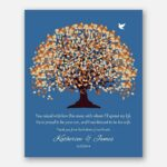 Mother of Groom Parents You Raised With Love This Man Orange Canopy Leaves on Blue Background #CWA-1119