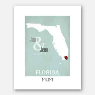 Anniversary Gift For Couple State of Florida City of Miami Where We Met #CWA-1121