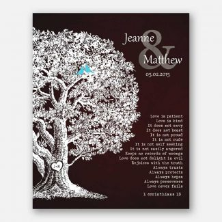 Personalized Gift Family Tree Anniversary Plaque 1 Corinthians 13 Carved Initials Love Is Patient Oak Tree Brown Background #CWA-1202