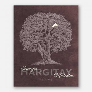 10th Anniversary Family Tree Oak Tree Carved Initials White Lovebirds on Brown Background #CWA-1215