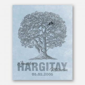 10th Anniversary Family Tree Oak Tree Carved Initials Navy Lovebirds on Blue Background #CWA-1216