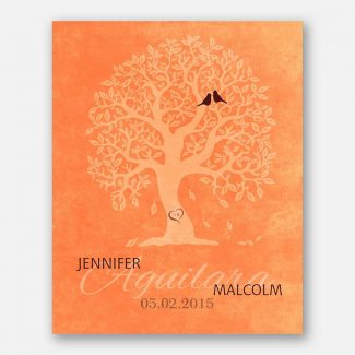 10th Anniversary Family Tree Bendy Knobby Carved Initials Lovebirds on Orange Background #CWA-1217