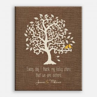 Sister Faux Burlap Background Yellow Birds