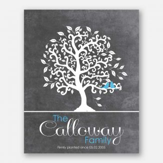 Anniversary Family Tree Bendy Tree Family Name Turquoise Birds on Gray Background #CWA-1244