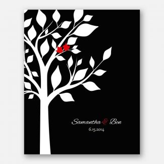 Anniversary Couple Family Tree Names And Date Red Birds Black Tree on White Background #CWA-1280