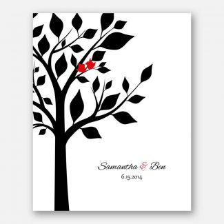 Anniversary Couple Family Tree Names And Date Red Birds White Tree on Black Background #CWA-1281