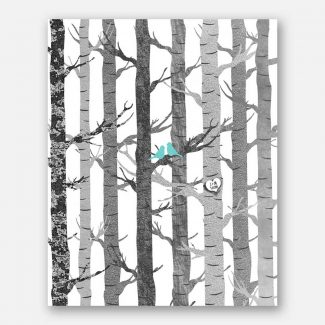 Anniversary Couple Birch Trees Carved Initials Faux Texture Turquoise Birds Tree Forest on White Background #CWA-1282