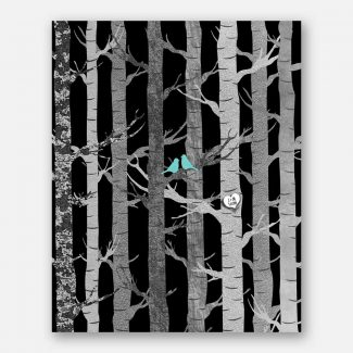 Anniversary Couple Birch Trees Carved Initials Faux Texture Turquoise Birds Tree Forest on Black Night Background #CWA-1283