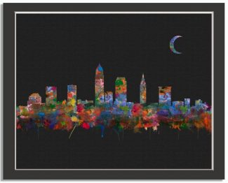 Cleveland Ohio City Skyline Watercolor Faux