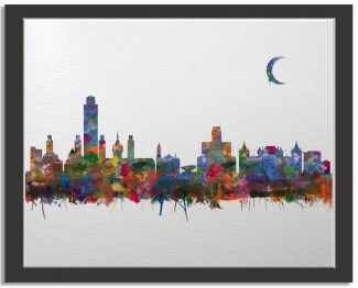 Albany New York City Skyline Watercolor Faux Watercolor Paper Background #AD-1003