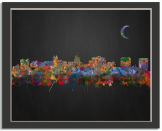 Madison Wisconsin City Skyline Watercolor Brushed