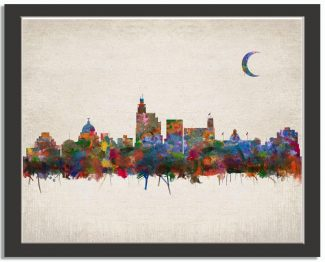 Jackson Mississippi City Skyline Watercolor Faux