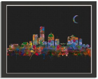 Milwaukee Wisconsin City Skyline Watercolor Faux