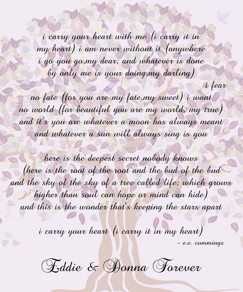 Anniversary Wedding E.E. Cummings Poem Family Tree Gift – Personalized For Donna