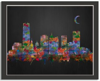 Oklahoma City City Skyline Watercolor Brushed