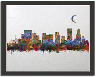 Portland Oregon City Skyline Watercolor Faux