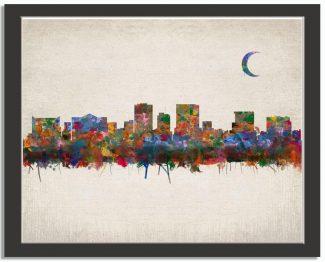 El Paso Texas City Skyline Watercolor