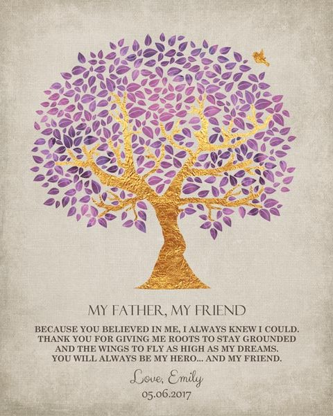 My Father My Friend Family Tree Thank You Dad Father's Day Birthday Gift – Personalized For Emily