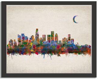 Los Angeles City Skyline Watercolor Faux