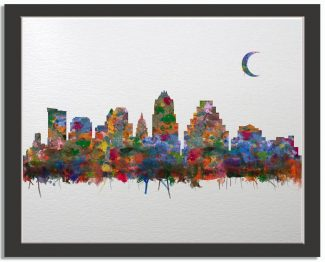 Austin Texas City Skyline Watercolor Faux