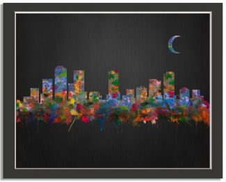 Denver Colordado City Skyline Watercolor Brushed