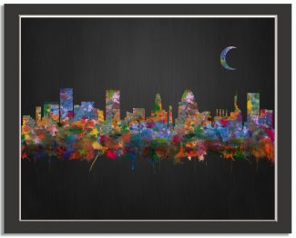 Baltimore Maryland City Skyline Watercolor Brushed