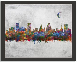 Baltimore Maryland City Skyline Watercolor Faux